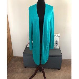 J Jill Longline Linen Blend Cardigan Sweater